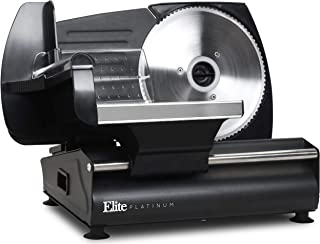 "Elite Platinum EMT-625B Ultimate Precision Electric Deli Food Meat Slicer Removable Stainless Steel Blade, Adjustable Thickness, Ideal for Cold Cuts, Hard Cheese, Vegetables & Bread, 7.5"", Black"