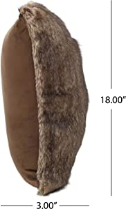"""Christopher Knight Home Ellison Faux Fur Throw Pillow (Set of 2), 18"""" x 18"""" x 3"""", Dark Brown, 2 Count"""
