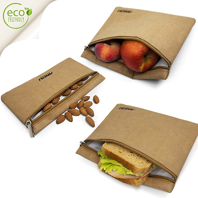 ANGU SPORTS Reusable Sandwich Bags Non Toxic BPA Free Reusable Paper Snack Bags Set Of 3 Keeps Food Fresh I Insulated Lunch Bag Lining Alternative To Food Wraps No More Plastic Bags