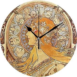壁掛け時計 アクリル 雑貨 かけ時計 壁掛時計 掛け時計 時計 無音時計 連続秒針 静音 オシャレ ミュシャ (占星術)十二宮図