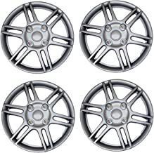 Tuningpros WC3-14-1004-S - Pack of 4 Hubcaps - 14-Inches Style 1004 Snap-On (Pop-On) Type Metallic Silver Wheel Covers Hub-caps