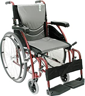 Karman Healthcare S-115 Ergonomic Ultra Lightweight Manual Wheelchair, Rose Red, 18
