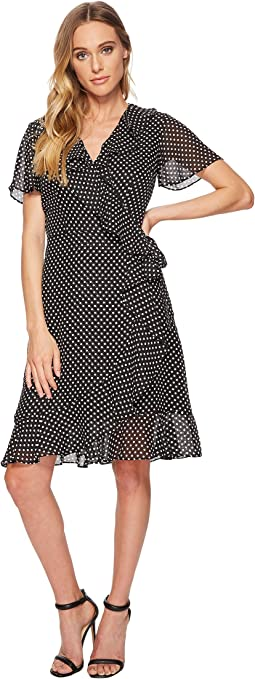 Tahari by ASL Polka-Dot Faux Wrap Dress