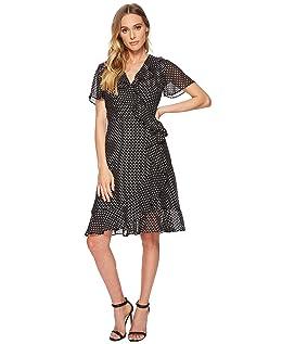 Polka-Dot Faux Wrap Dress