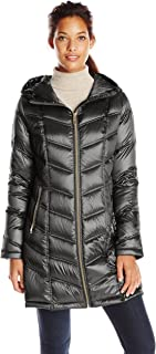 Women's Hooded Chevron Quilted Packable Down Jacket (Regular and Plus Sizes)
