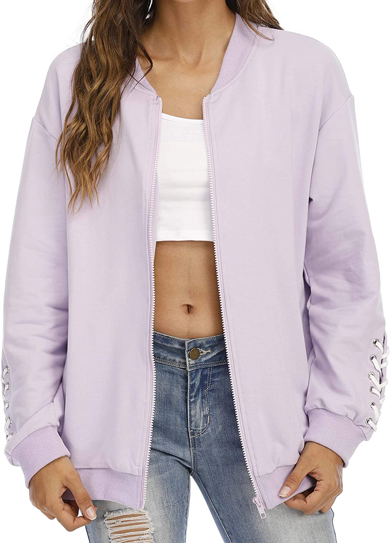 aladuo Women's Casual Zip Up Lightweight Sweatshirt Long Sleeve Jacket Coat with Pockets Purple X-Large