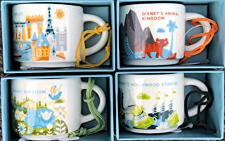 Set of 4: Disney's Animal Kingdom + Magic Kingdom + Hollywood Studios + Epcot You Are Here Starbucks 2 Ounce Mini Mug ORNAMENTS