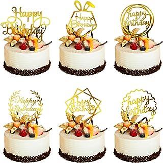 Phogary 6 Style Happy Birthday Cake Topper (Or avec Films Double Face), Décoration de Gâteau de Paillettes Acrylique pour ...