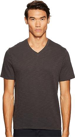 Short Sleeve Slub V-Neck