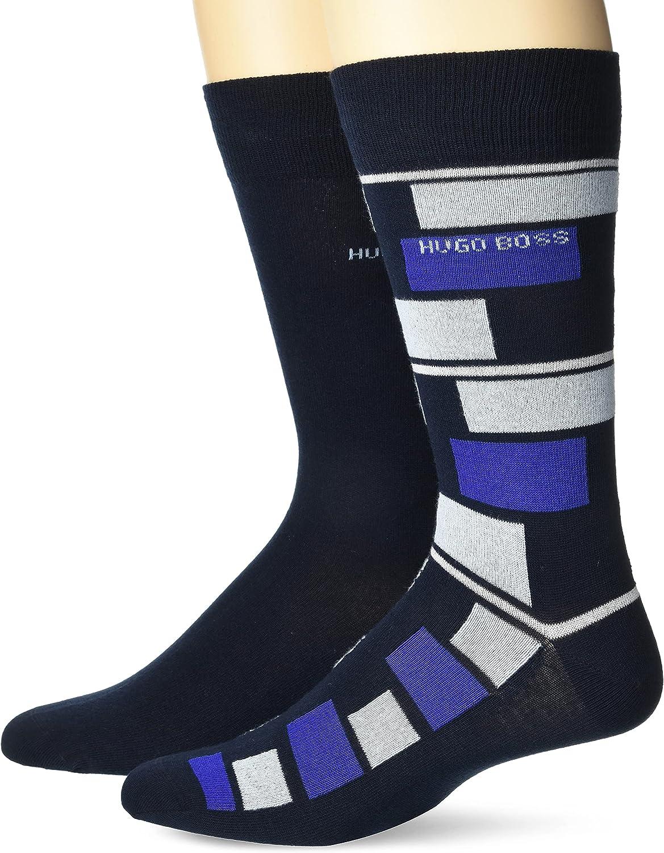BOSS mens 2-pack Stripe Solid Pattern Dress Sock