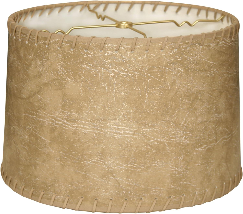 Popular Royal Designs Shallow Drum Max 68% OFF Hardback Brown Lamp Faux Shade Leath