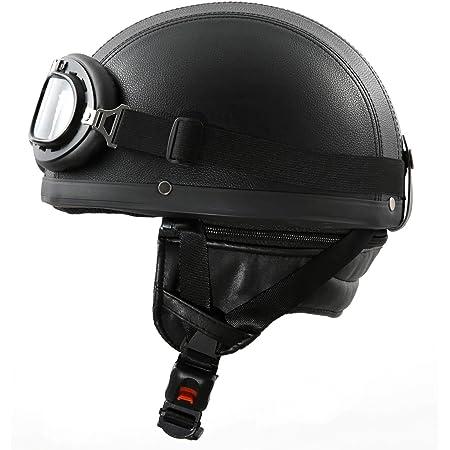 Cheyenne Retro Oldtimer Helm Mit Pu Leder Bezogen Und Fliegerbrille S 55 56 Cm Auto