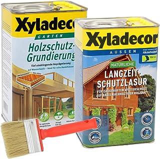 Xyladecor natürliche Langzeitschutzlasur und Grundierung im Set, UV Holz-Lasur auf Basis nachhaltiger Holzöle für außen 2,5L  2,5L, farblos