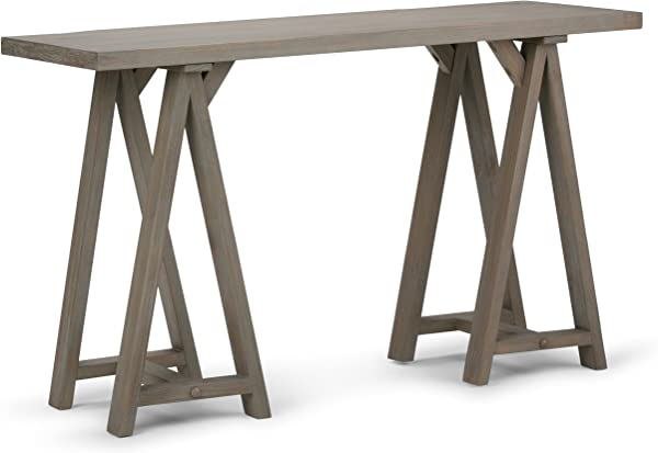 Simpli Home 3AXCSAW 03 GR Sawhorse Solid Wood 50 Inch Wide Modern Industrial Console Sofa Table In Distressed Grey