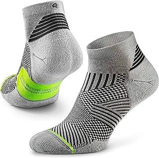 Flare - Calcetines de running para hombre y mujer, talla cuarto, soporte de arco, 100% reciclado, antiolor (1 par), S (US Women 5-6.5 / US Men 3.5-5 ), Blanco/Lima