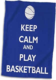 3D Rose Keep Calm and Play Basketball Blue and White TWL_171919_1 Towel, 15