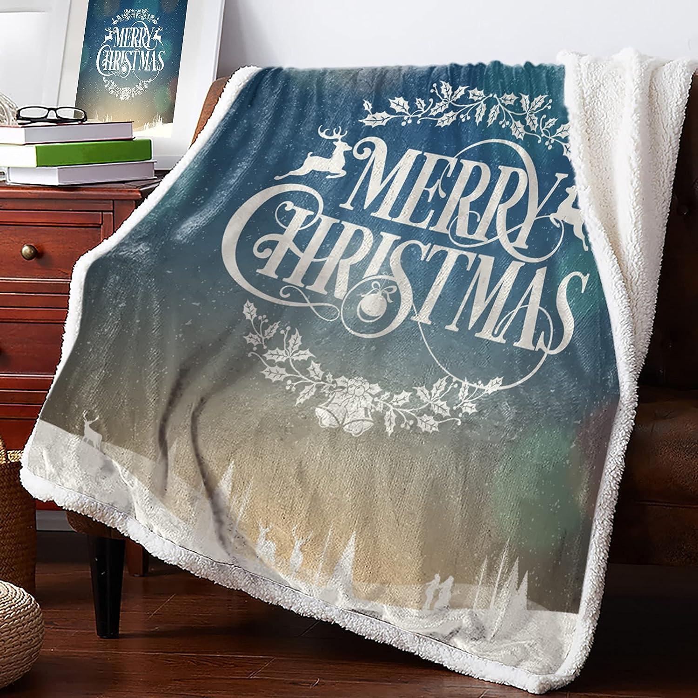 MuswannaA Sherpa Fleece Throw Colorado Springs Mall Blanket Super Popular overseas Christmas Merry Soft