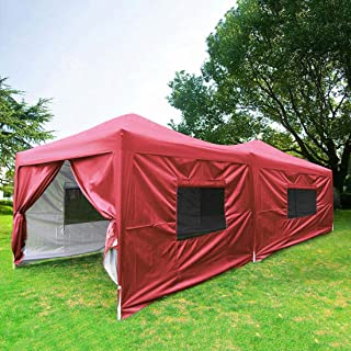 Quictent Privacy 10x20 EZ Pop Up Canopy Tent Outdoor Party Tent with Detachable Sidewalls,Mesh Windows & Roller Bag Waterproof (Red)