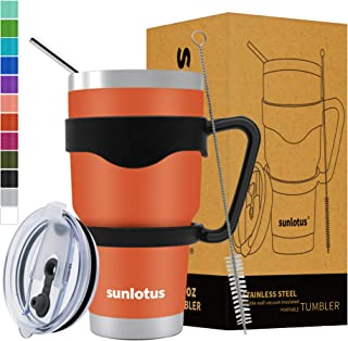 Sunlotus 30 oz Stainless Steel Tumbler Double Wall Vacuum Insulated Travel Coffee Mug,Cup with Splash Proof Lid,Straw,Handle,Straws Brush&Gift Box (30, Orange)