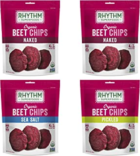 Rhythm Superfoods Beet Chips Variety Pack, Naked/Sea Salt/Pickled, Non-GMO, 1.4 Oz (Pack of 4), Vegan/Gluten-Free Superfood Snacks, Packaging May Vary