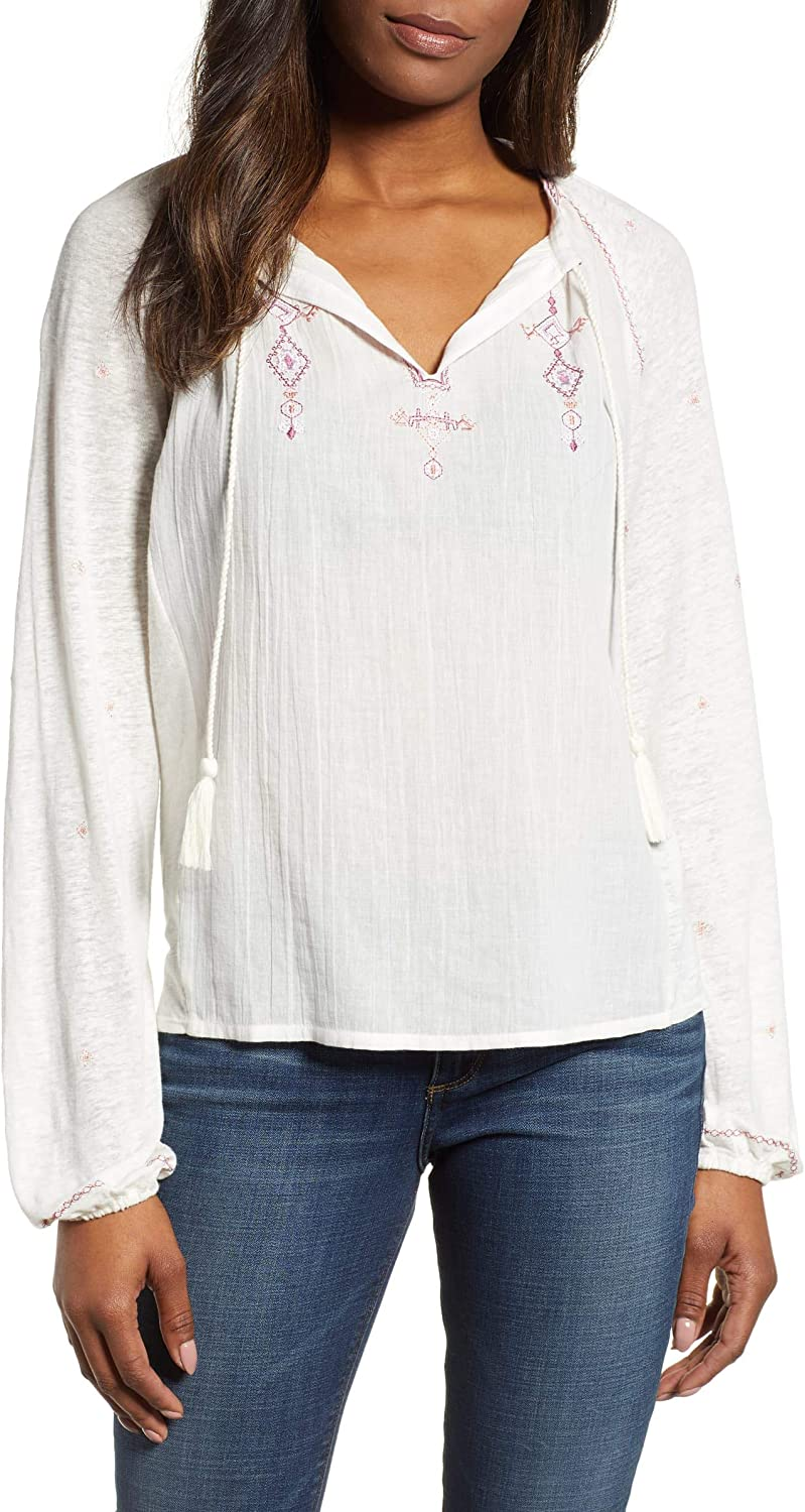 Lucky Ranking TOP3 Brand OFFicial store Women's Embroidered Top Peasant