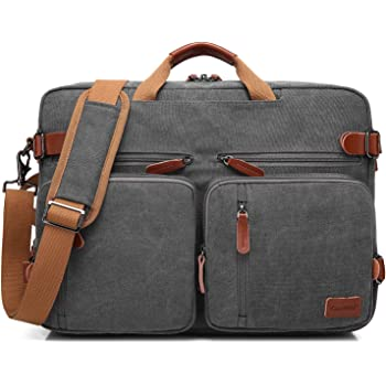 CoolBELL Convertible Backpack Messenger Bag Shoulder Bag Laptop Case Handbag Business Briefcase Multi-Functional Travel Rucksack Fits 15.6 Inch Laptop for Men/Women (Cancas Dark Grey)