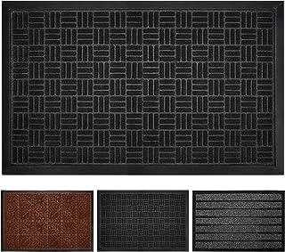 Delxo 30x18 Durable All-Natural Tough Rubber Doormats, Waterproof Boots Scraper Mats, Heavy Duty Indoor Outdoor Door Mat for Winter Snow, Low-Profile Easy Clean, Charcoal Stripes