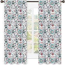 Rideau isolant avec motif de la Tour Eiffel - Coloré - Style rétro - Motifs floraux - Cupcakes et Je'Taime - Insonorisatio...