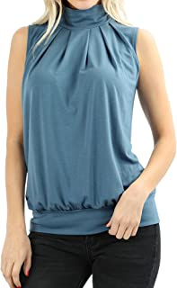 a9795c65d5cdc8 The Lovely Women Sleeveless Mock-Turtleneck Pleated Top with Waistband