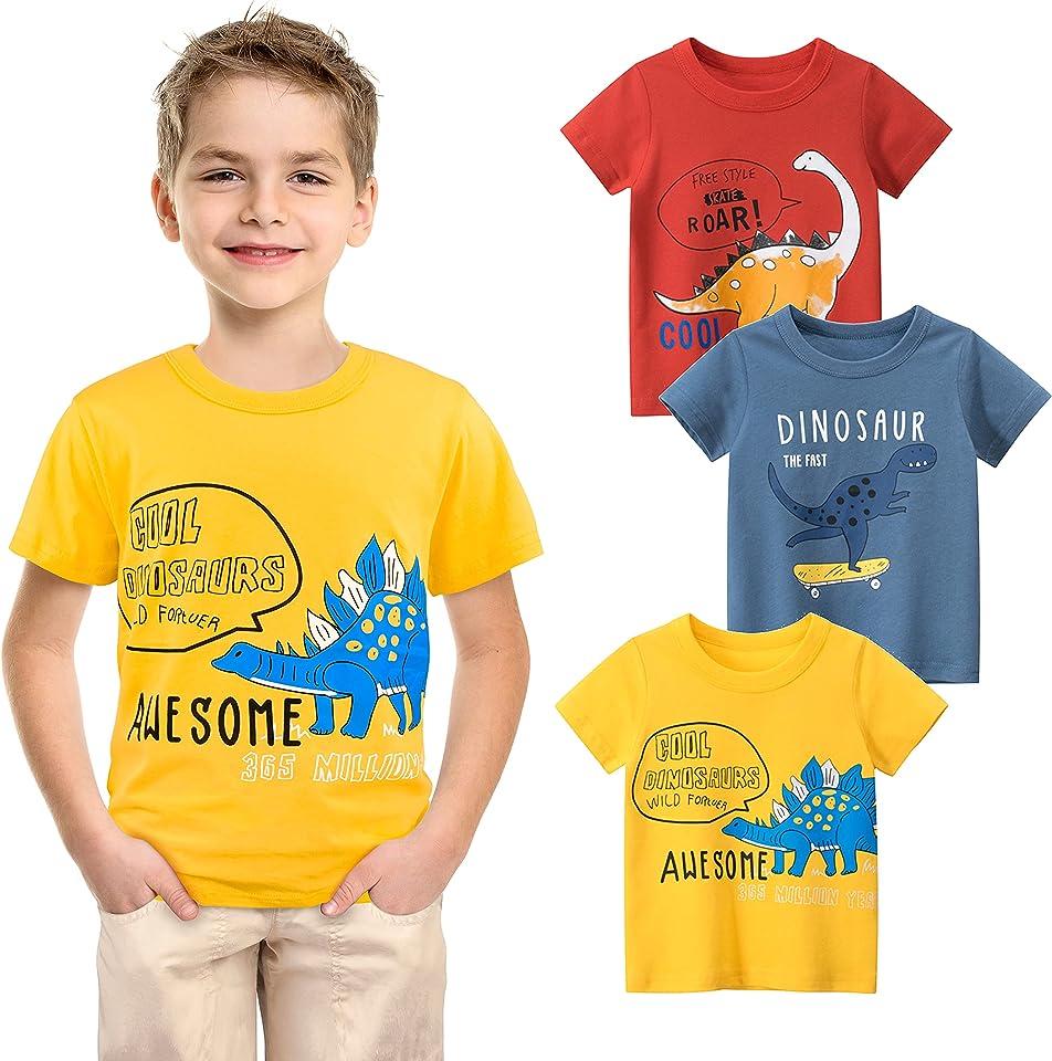 Jungen T-Shirts 3er Pack Dinosaurier Kinder T-Shirt Set für Kinder 100% Baumwolle Kurzarm Tops Summer Jungen T-Shirts