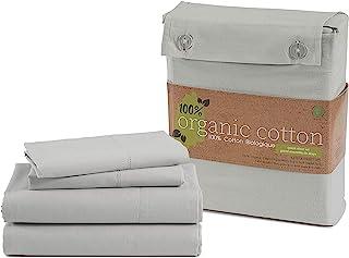 Juego de sábanas individuales 100% algodón orgánico, tamaño doble, 3 piezas, tejido de percal de fibras largas, ultra suav...