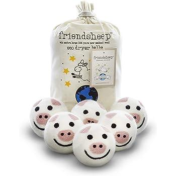 Friendsheep Wool Dryer Balls 6 Pack XL Organic Premium Reusable Cruelty Free Handmade Fair Trade No Lint Fabric Softener Pig - Piggy Band