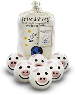 Friendsheep Organic Eco Wool Dryer Balls - Pigs - Handmade, Fair Trade, Organic, No Lint