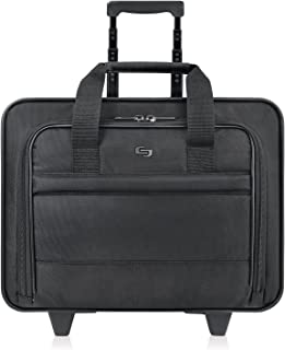 Solo New York Carnegie Rolling Laptop Bag.  Slim, Compact Design Rolling Case for Women and Men. Fits up to 15.6 inch laptop - Black