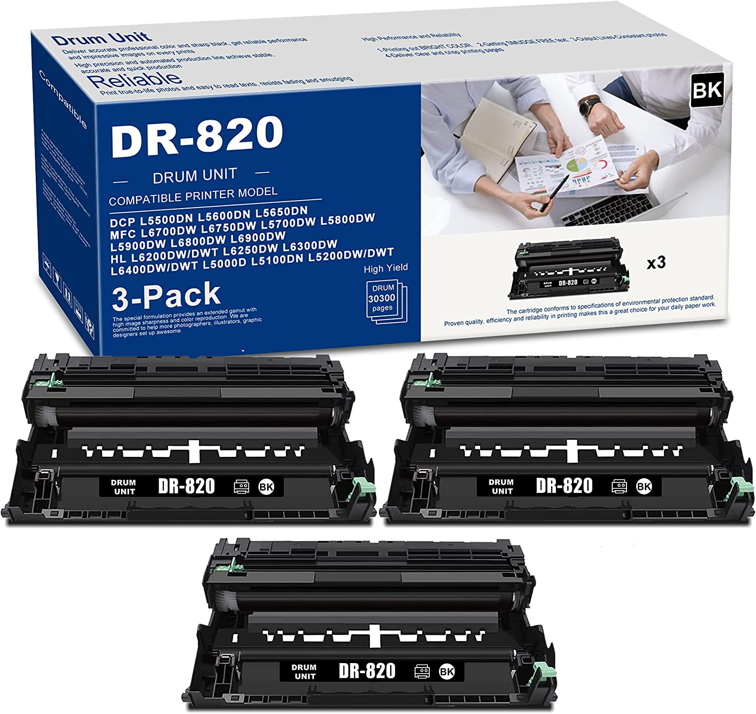 (3 PK Black) DR820 DR-820 Drum Unit High Yield Compatible Replacement for Brother DCP L5500DN L5600DN L5650DN MFC L6700DW L6750DW L5700DW L5800DW L5900DW L6800DW L6900DW Printer