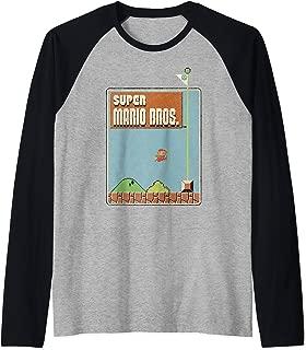 Nintendo Super Mario Bros Game Screen Shot Raglan Baseball Tee