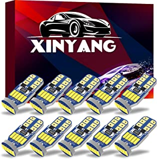 XINYANG 10Pcs 194 LED Car Bulbs, Canbus No Error T10 168 LED Light Bulbs, 15smd 4014 chipset 175 2825 Non-polarity LED Lig...
