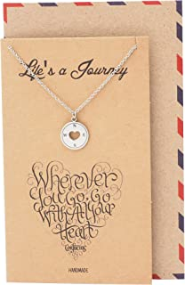Quan Jewelry Compass Pendant Necklace Graduation Gifts for Woman, Inspirational Jewelry, Appreciation Gift, Journey Charm, Motivational Quote with Greeting Card
