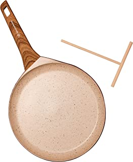 WaxonWare 11 Inch Non Stick Crepe Pan & Round Griddle With Spreader & Induction Bottom - 100% PFOA Free German Nonstick Coating - For Pizza, Tortillas, Pancakes, Omelettes & Crepe (MARBELLOUS Series)