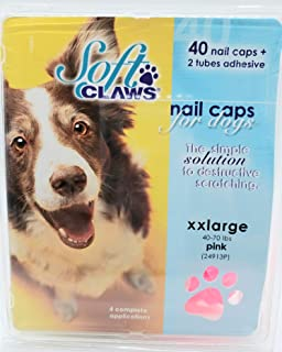 Soft Claws Canine Nail Caps - 40 Nail Caps Adhesive Dogs, XX LG 40-70 LBS, Solid Pink