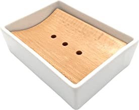Lofekea Ceramic Soap Dish Soap Holder for Bathroom and Shower Double Layer Draining Soap Box (Wood)