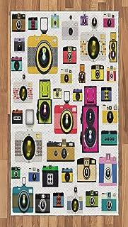 ABAKUHAUS Vintage Alfombra de Área Cámaras Fotográficas Vintage Antiguas Pasatiempo Artístico Tema Estudio Diseño Ideal para Sala de Estar o Comedor Resistente a Manchas 80 x 150 cm Multicolor