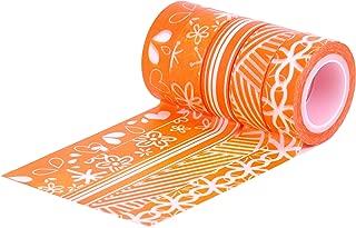 HIART Repositionable Washi Tape, Cheerful Orange, Set of 5