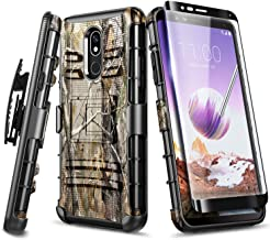 NageBee LG Stylo 5 Case, LG Stylo 5V / Stylo 5+ Plus Case with Tempered Glass Screen Protector (Full Coverage), Belt Clip Holster Heavy Duty Armor Shockproof Kickstand Dual Layer Combo Case -Camo