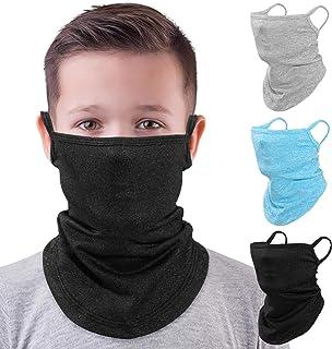 MoKo Kids Neck Gaiter Face Mask, 3 Pack Scarf Bandana Mask with Ear Loops for Kids Balaclava UV Sun Protection Dust Wind Proof Children Cycle Skating Bandanas for Girls Boys, Black/Light Gray/Blue