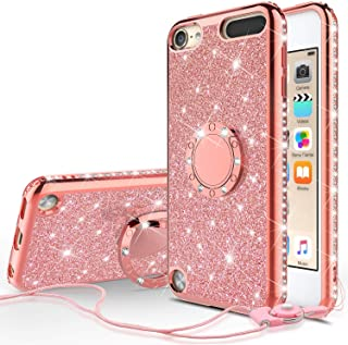 Wydan Case Compatible for Apple iPod Touch 7th, 6th, 5th Generation - Bling Glitter Ring Kickstand Phone Cover