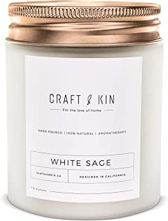 White Sage Scented Candles | Highly Scented, Sage Candle for Cleansing House, All Natural Soy Candles Scented, 8 oz | 45 H...