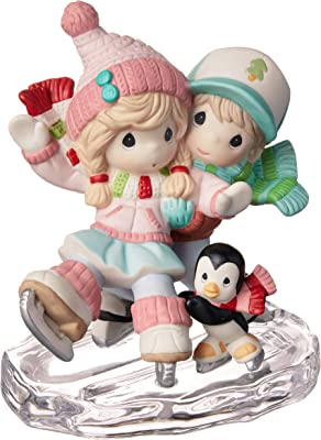 Precious Moments Bisque Porcelain Couple Skating Figurine, Multi
