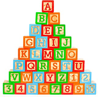 "ABC Wooden Toy Blocks for Baby. Large (1 ¾"" ) Jumbo Size w/ Letters, Numbers (1, 2, 3, etc) and Pictures. Stacking Wood Toy for Toddlers that Creates Hours of Engaging, Educational Play"