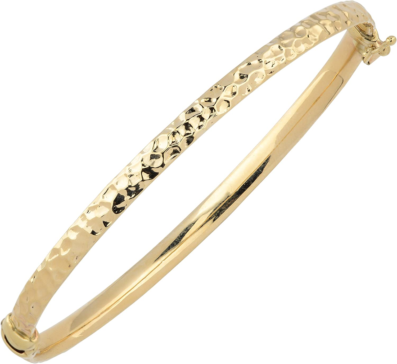 Kooljewelry 10k Yellow Gold Hammered Surface Bangle Bracelet